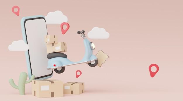 パステル背景のオンラインミニスクーター小包配達で作業するための3dレンダリングスマートフォンオンラインコンセプトショッピング