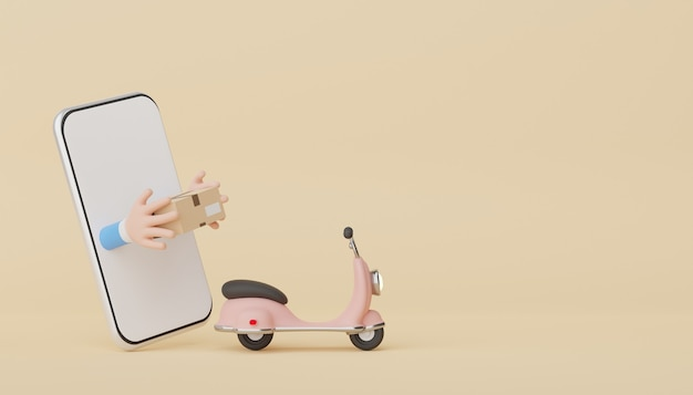 3d-рендеринг смартфона с рукой, держащей онлайн-доставку посылок и скутер