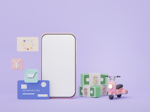 3d 렌더링 스마트폰 돈 개념 재정 계획 온라인 쇼핑 자산 관리