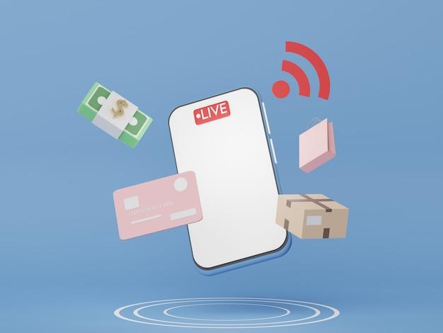 3d-рендеринг смартфона с концепцией онлайн-покупок. живая продажа продукта на платформе.