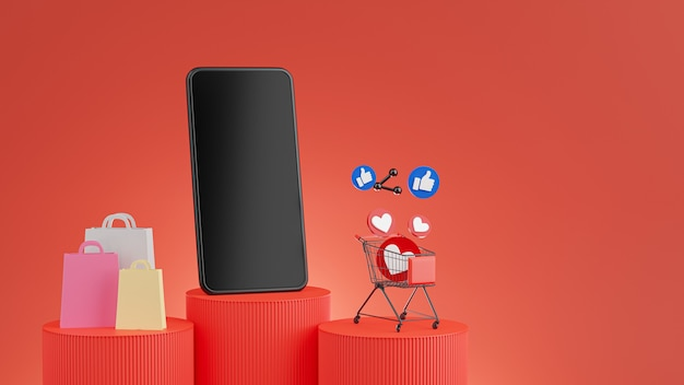 3d render of smartphone with shopping online concept on red podium for mockup