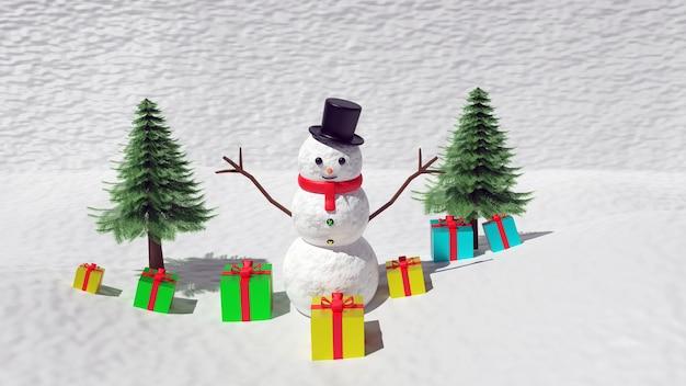 3dレンダリング雪だるまとクリスマスツリー