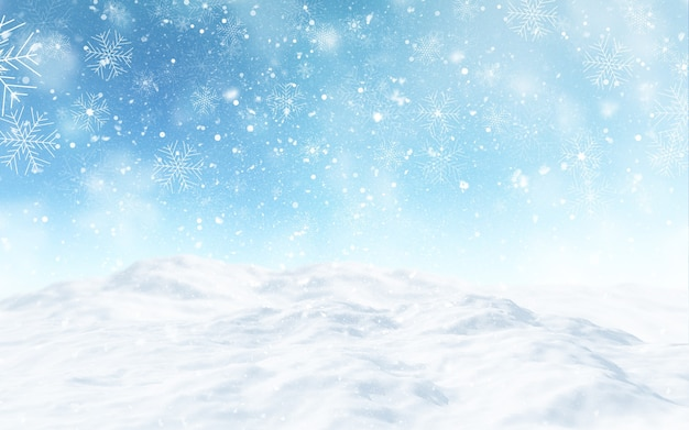 3d render of a snowy christmas landscape