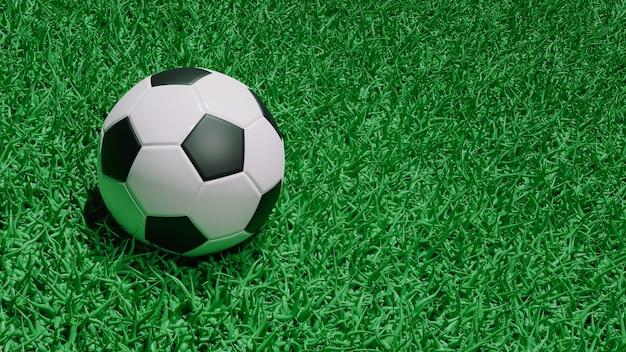 3d визуализация футбольный мяч, изолированные на фоне травы