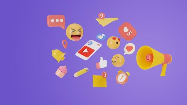 コンテンツエディタの3dレンダリングソーシャルメディアの概念。