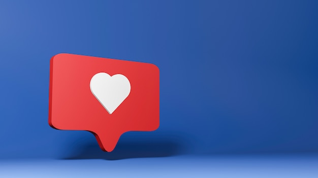 3d render of social media icon,like symbol on blue background.