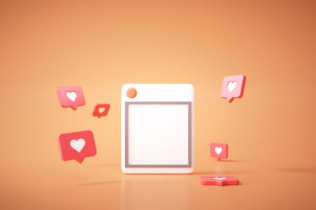 3d визуализация социальных медиа с фоторамкой, как кнопка и геометрические фигуры на желтом фоне.