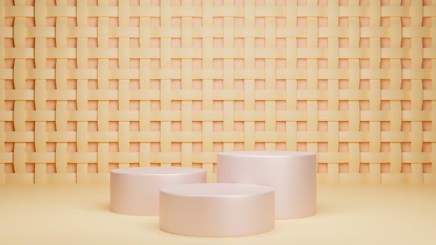 3d render of softcolor  podium. minimal studio with round pedestal