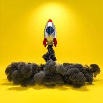 연기와 노란색 배경으로 만화 스타일의 3d 렌더링 우주 로켓 우주선
