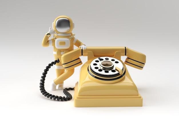 3d визуализации космонавт космонавт вызова жест со старым телефоном 3d иллюстрации дизайн.
