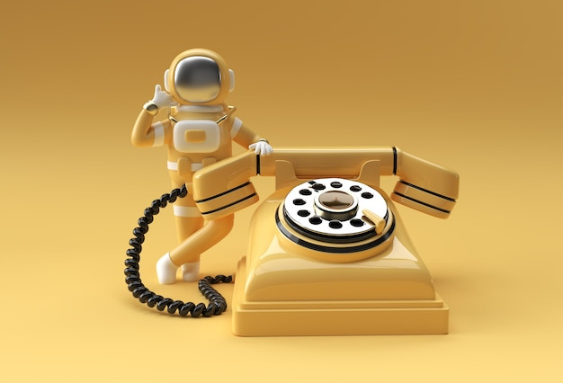 3d render spaceman astronaut calling gesture with old telephone 3d illustration design.