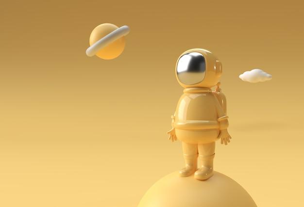 3d 렌더링 우주인 우주 비행사 우주 비행사 3d 그림 디자인입니다.