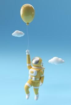 気球で浮かぶ3dレンダリング宇宙飛行士3dイラストデザイン。
