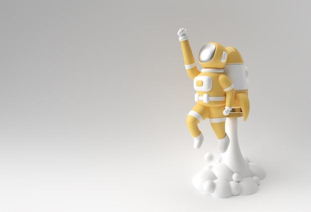 3d визуализации космонавт-космонавт, летящий с ракетой 3d иллюстрации дизайн.