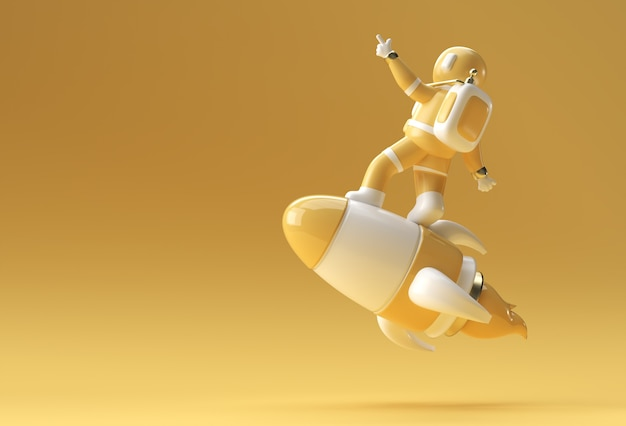 ロケット3dイラストデザインで飛んでいる3dレンダリング宇宙飛行士。