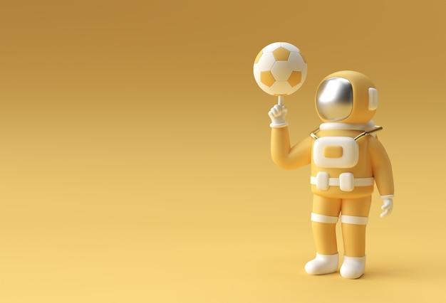 3dレンダリング宇宙飛行士手指保持サッカー3dイラストデザイン。