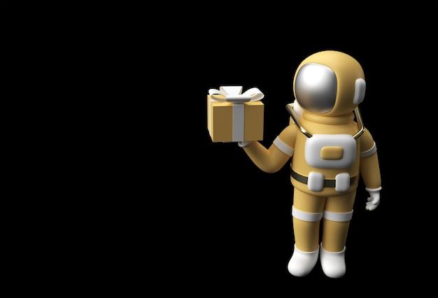ギフトボックス3dイラストデザインを持っている3dレンダリング宇宙飛行士宇宙飛行士の手。