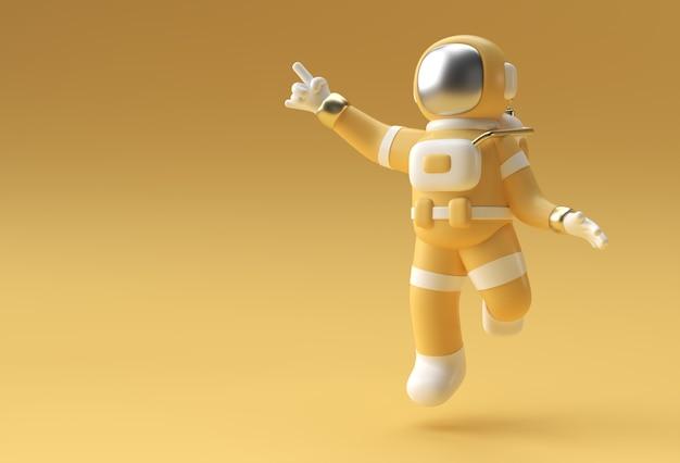 3d 렌더링 우주인 우주 비행사 손 가리키는 손가락 제스처 3d 그림 디자인입니다.
