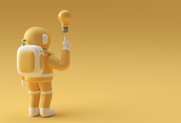 3d визуализация космонавт космонавт рука указывая пальцем свет идея жест лампочки 3d иллюстрации дизайн.