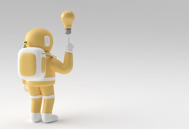 3dレンダリング宇宙飛行士宇宙飛行士ハンドポインティングフィンガーライトアイデアバルブジェスチャ3dイラストデザイン。