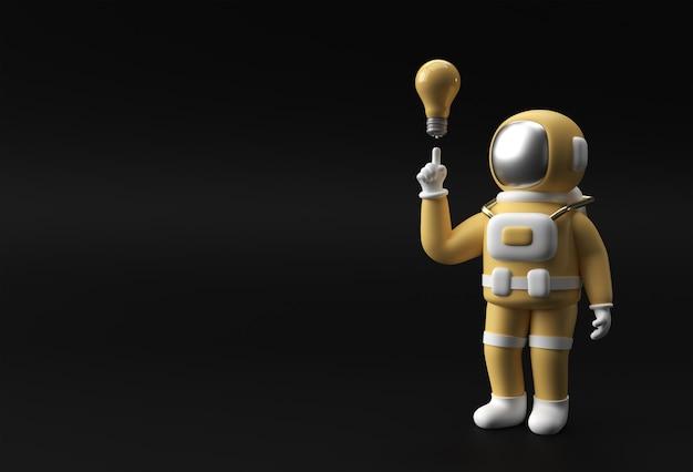 3d 렌더링 우주인 우주 비행사 손 가리키는 손가락 빛 아이디어 전구 제스처 3d 그림 디자인입니다.