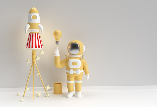 3d 렌더링 우주인 우주 비행사 손 가리키는 손가락 빛 아이디어 전구 제스처 공간 로켓 3d 일러스트 디자인입니다.