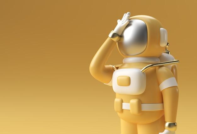 3d 렌더링 우주인 우주 비행사 두통, 실망, 피곤한 백인 또는 수치심 제스처의 3d 일러스트레이션 디자인.