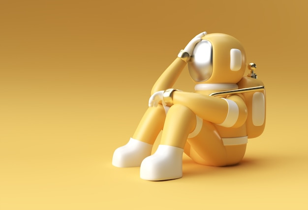 3d render spaceman astronaut headache, disappointment, tired caucasian or shame gesture's 3d illustration design.