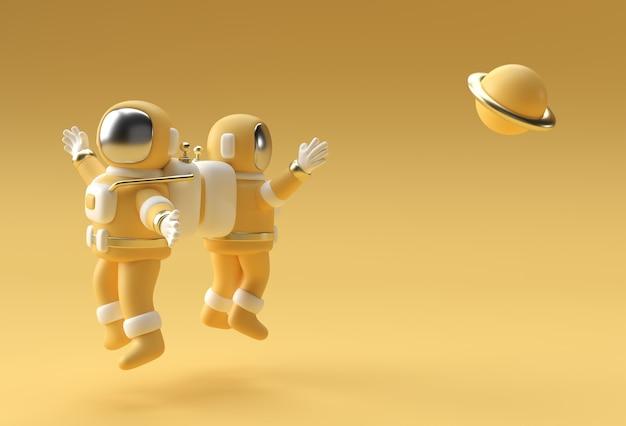 3dレンダリング宇宙飛行士ジャンプ3dイラストデザイン。