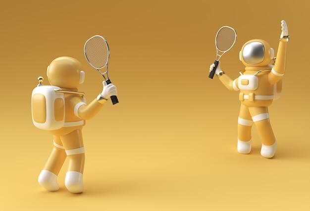 3d render spaceman astronaut playing tennis, 3d illustration design.
