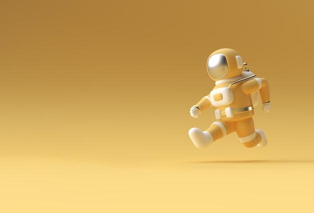 3dイラストデザインを実行している3dレンダリング宇宙飛行士。