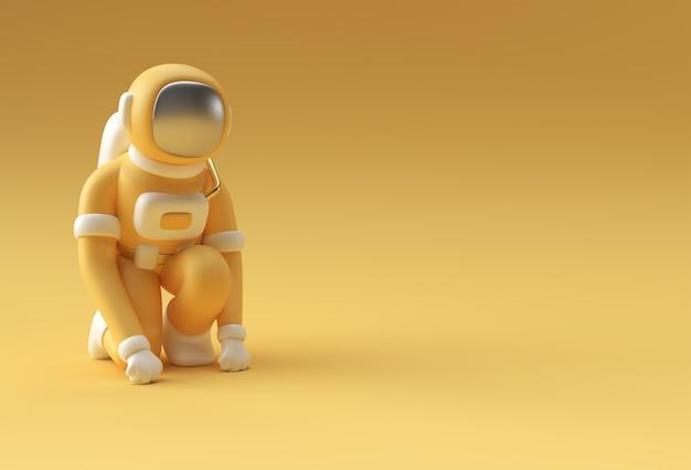 3dレンダリング宇宙飛行士のランニングポーズ3dイラストデザイン。