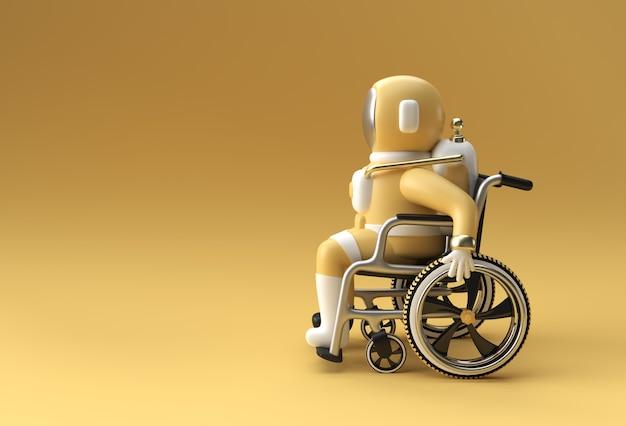 3d render spaceman astronaut sitting on wheelchair 3d illustration design.