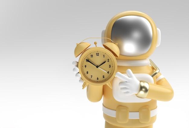 3d render spaceman astronaut with alarm clock 3d illustration design.