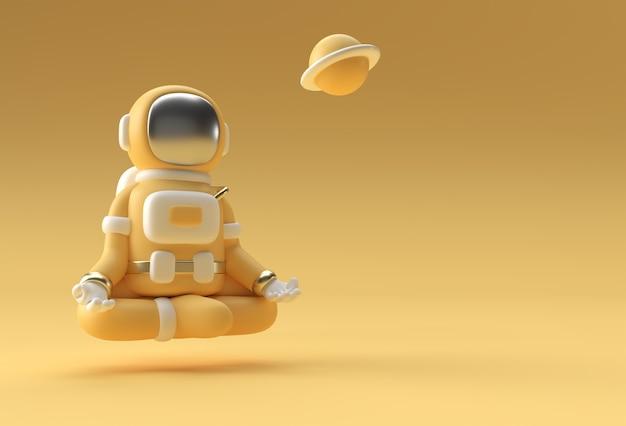 3dレンダリング宇宙飛行士ヨガジェスチャー3dイラストデザイン。