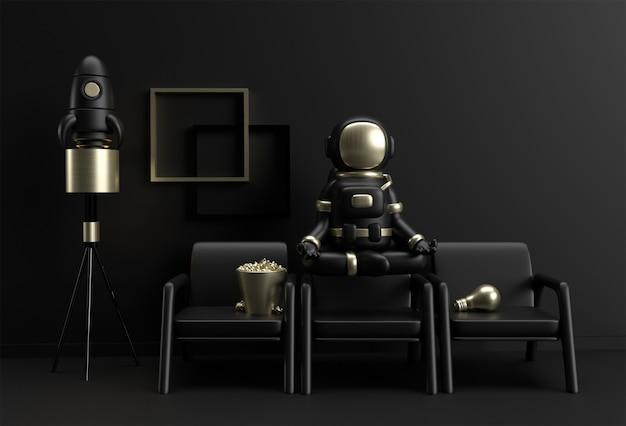 3d render spaceman astronaut yoga gestures 3d illustration design.