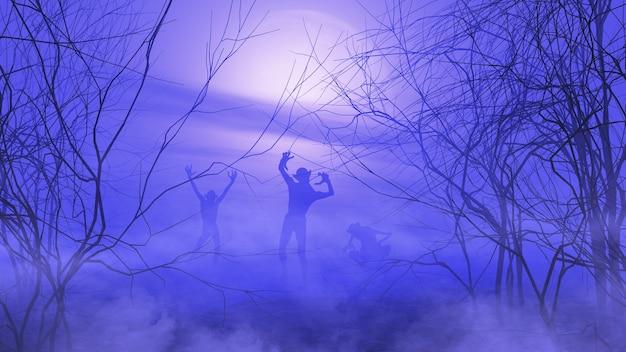 Rendering 3d di un paesaggio spettrale di halloween con zombi in un'atmosfera nebbiosa
