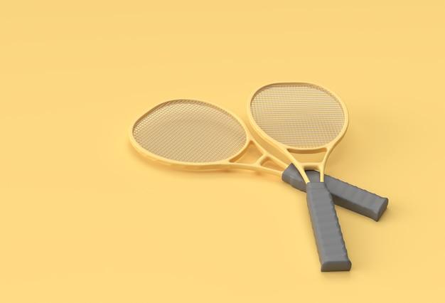 黄色の背景に3dレンダリングスポーツ用品テニスラケット。
