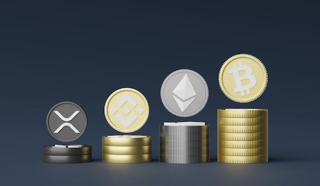 3d-рендеринг стека криптовалют биткойн, ethereum, binance и ripple