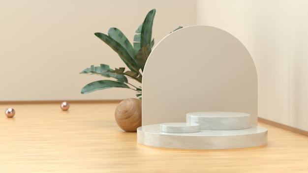 제품 전시를 위한 나무 바닥과 열대 식물이 있는 방의 3d 렌더 스테이지