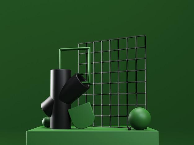 3d визуализация этап с абстрактными геометрическими фигурами в зеленых и черных тонах. современная нереальная композиция