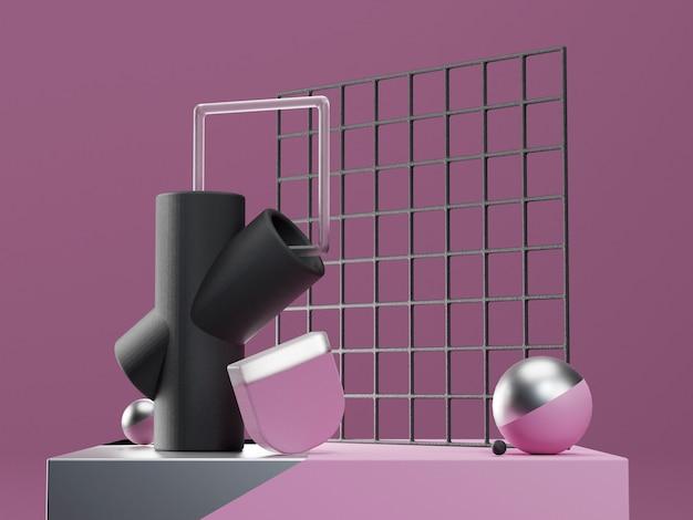 3d визуализация сцены с абстрактными геометрическими фигурами в фиолетовых, черных и серебряных тонах. современный нереальный