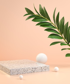 3d render stage with green leaf  tropical on beige color