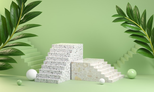 3d render stair step podium on green pastel colors display abstract background
