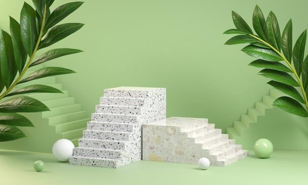 緑のパステルカラーの3dレンダリング階段ステップ表彰台は抽象的な背景を表示します