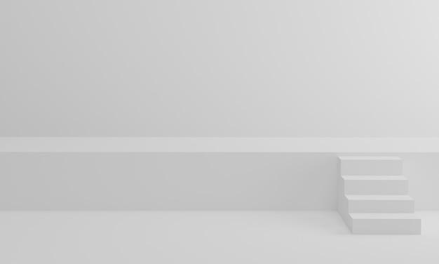 3dレンダリング。白いスタジオの背景に階段。最小限の階段シーンが授賞式のためにステージを上る。