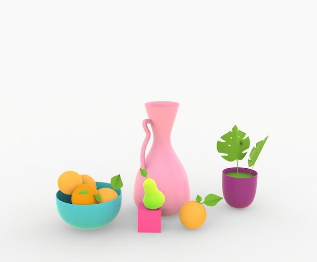 3 dレンダリング静物vsesとラベと果物と梨