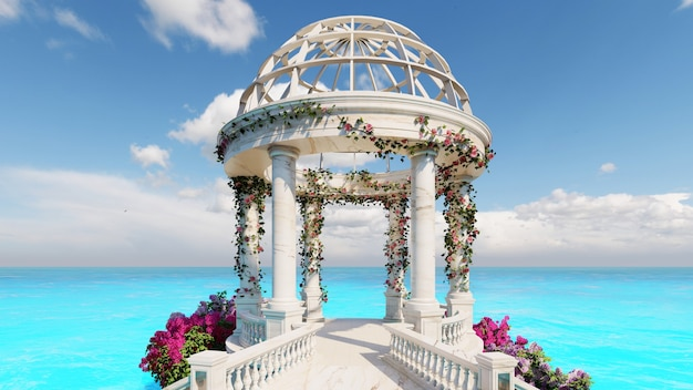 3d render stone marble pavilion with flowers decoration with sea background