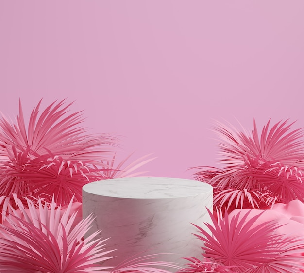 3d 렌더링 돌, 팜 리프 및 분홍색 배경, 대리석 연단, 디스플레이 또는 쇼케이스와 gemotric 핑크 색상.