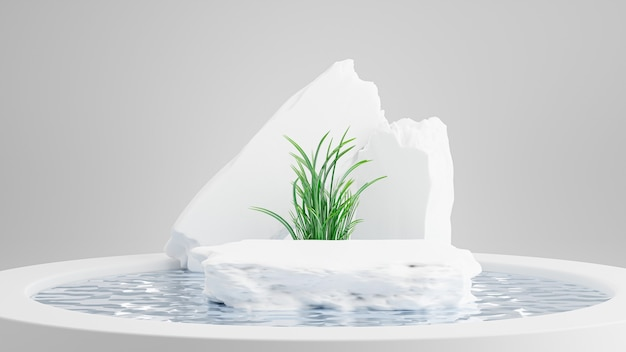 3d render of stone podium with swimming pool abstract for product display
